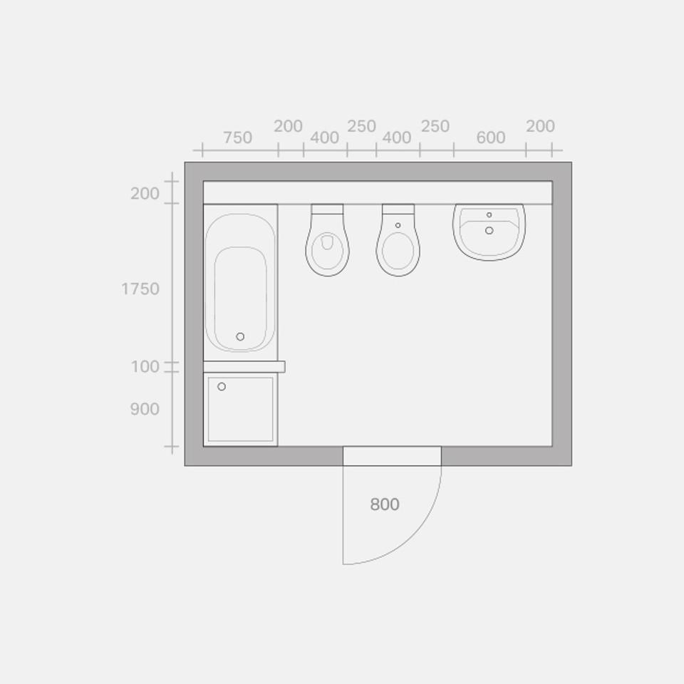 Umbaumöglichkeiten eines Bades, Ausgangssituation, Zeichnung in Anlehnung an VDI 6000 Blatt 1 (02/2008)