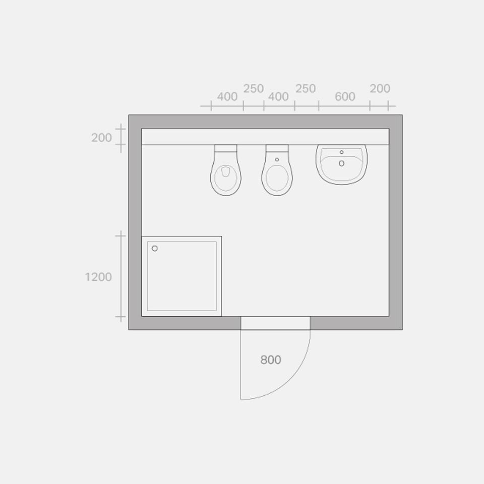 Umbaumöglichkeiten eines Bades, Umbau Variante 1, Zeichnung in Anlehnung an VDI 6000 Blatt 1 (02/2008)