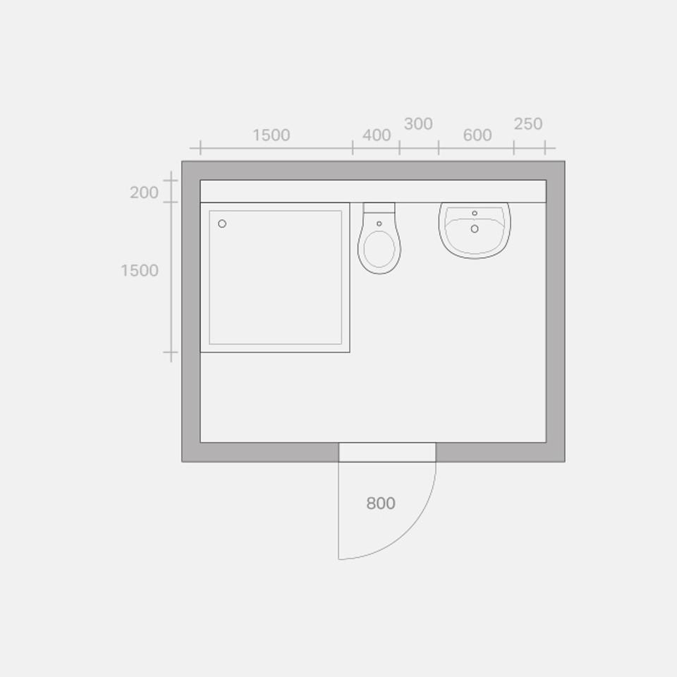 Umbaumöglichkeiten eines Bades, Umbau Variante 2, Zeichnung in Anlehnung an VDI 6000 Blatt 1 (02/2008)