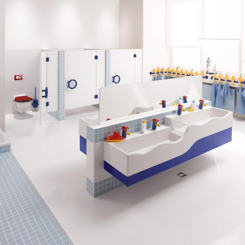 Bildungseinrichtungen, kindgerechte Trinkwasserarmaturen, Hygieneerziehung, Bambini Waschlandschaft