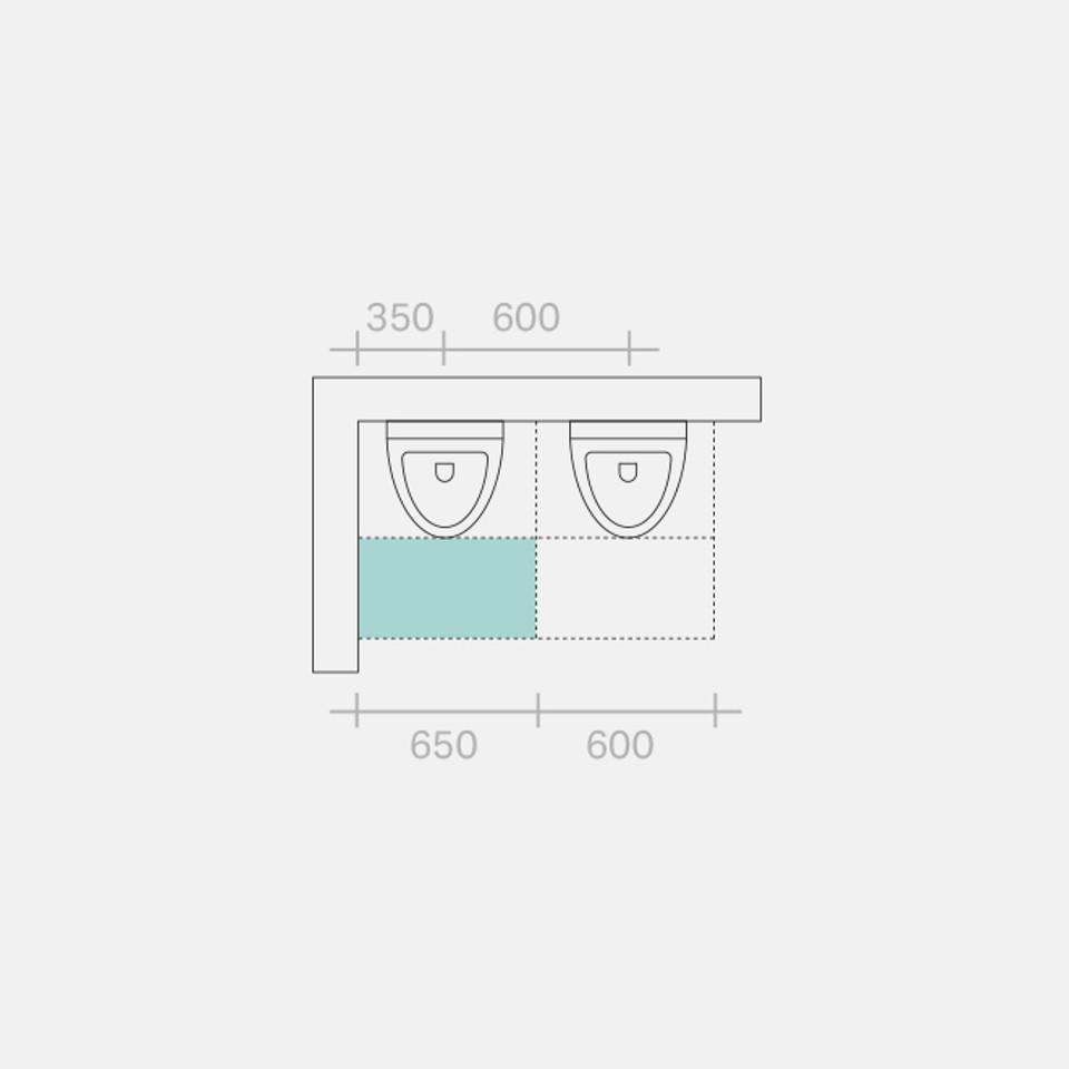Maßangaben in mm, Zeichnung in Anlehnung an Sanitär-Technik, Feurich/Kühl, Band 1, 2011