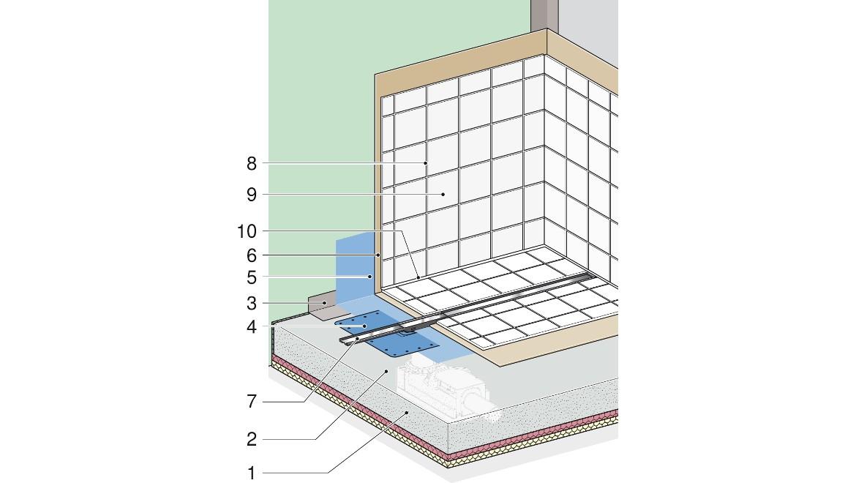 Beispiel einer Abdichtung bodenebener Duschen mit Geberit Duschrinne CleanLine