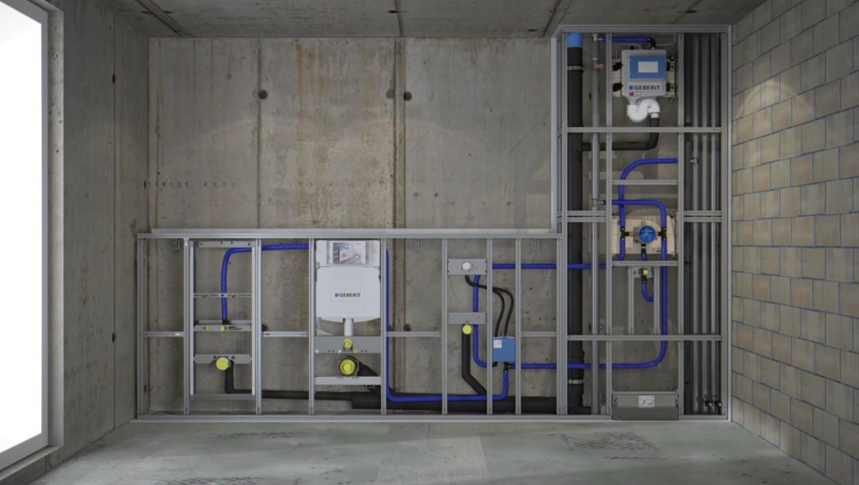 Badezimmer im Rohbau; Geberit Duofix Installationssystem für Urinal, Waschtisch, WC, Wandablauf