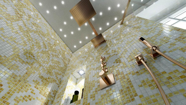 Exklusive Wohnzimmermöbel im Bad, viel Gold und matte Oberflächen