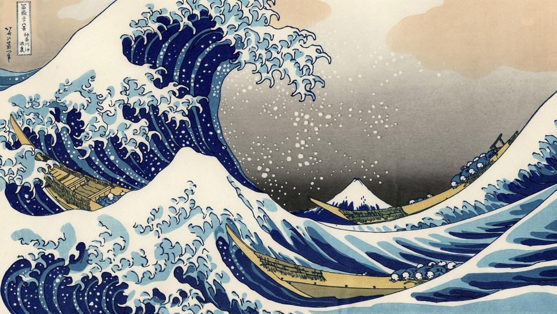 """""""Die große Welle vor Kanagawa"""" von Katsushika Hokusai. Aus der Serie """"35 Ansichten des Bergs Fuji"""" (1829 – 1833)"""