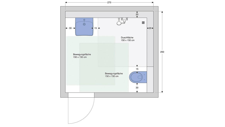 Überschneidende Bewegungsflächen in einem seniorengerechten Bad mit Dusche nach DIN 18040-2.