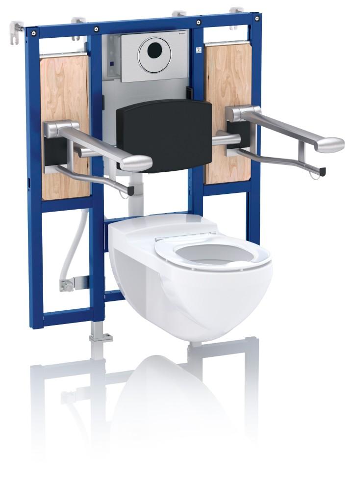 Montageelemente fürs WC mit Montageplatten für Stützklappgriffe und nachträglich höhenverstellbarer Keramik-Aufhängung lassen sich jederzeit an Bewegungseinschränkungen anpassen.